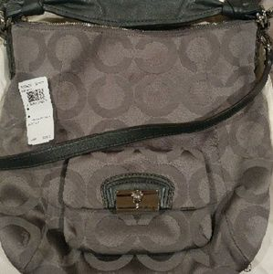 Charcoal grey Coach hobo and matching wallet